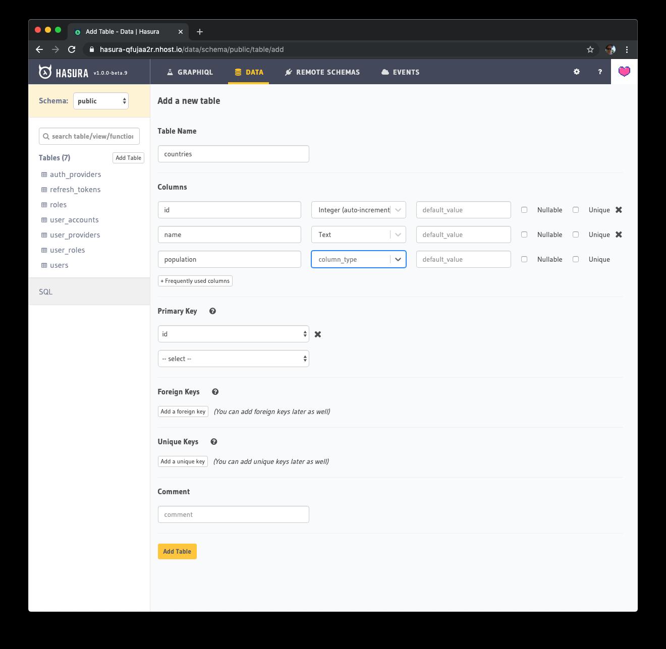 Hasura database management