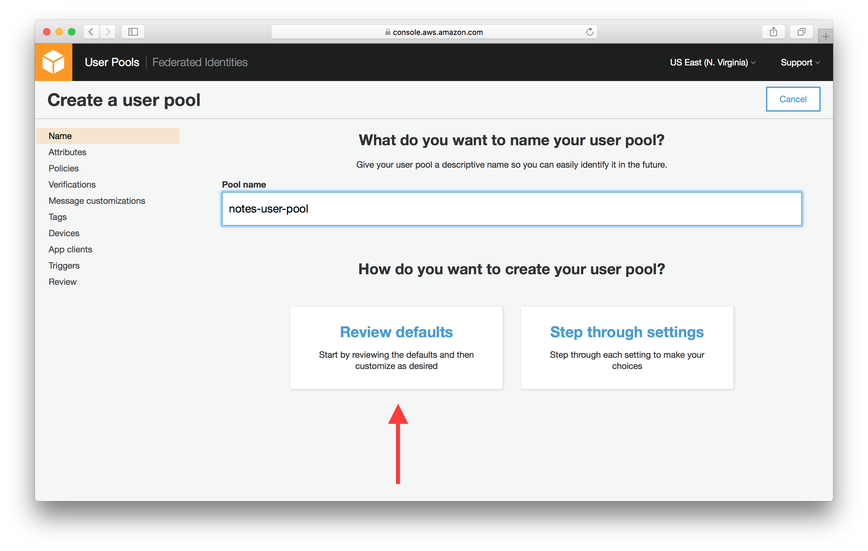 Create a Cognito User Pool | Serverless Stack