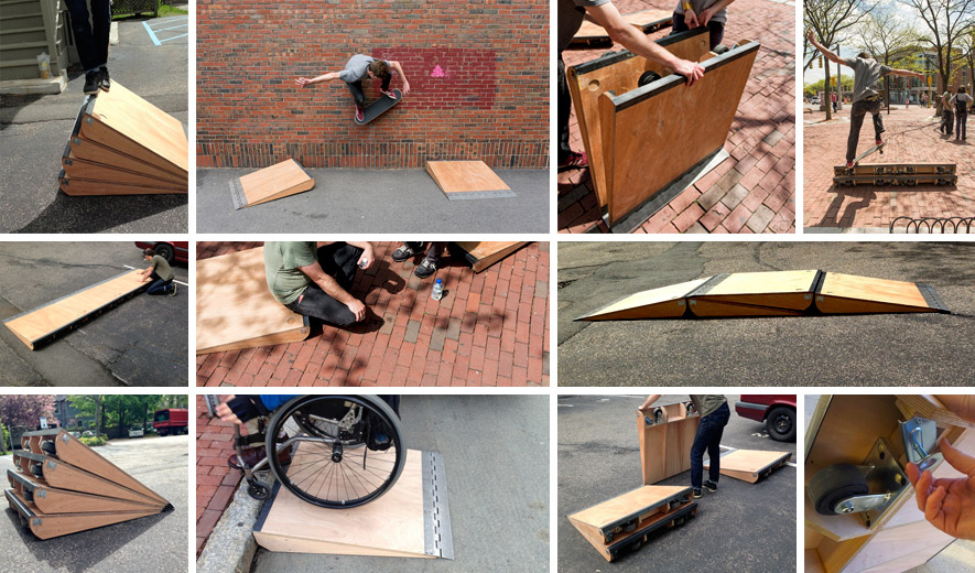 a montage of images showing the project's original set of five modular single-step ramps, in use by both skateboarders and wheelchair users