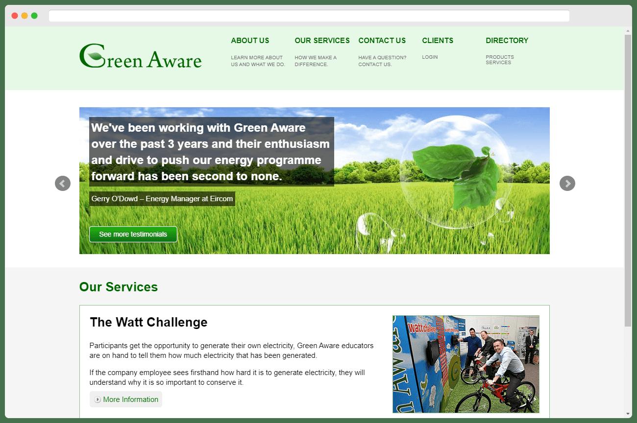 Green Aware Homepage