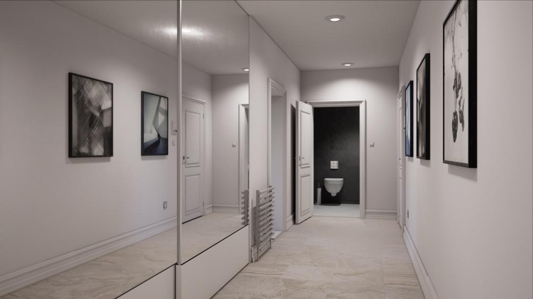 Virtual reality walkthrough of an apartment hallway