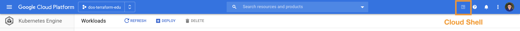 "Google Cloud header with ""Cloud Shell"" option pointed out (top right corner near the help button)"
