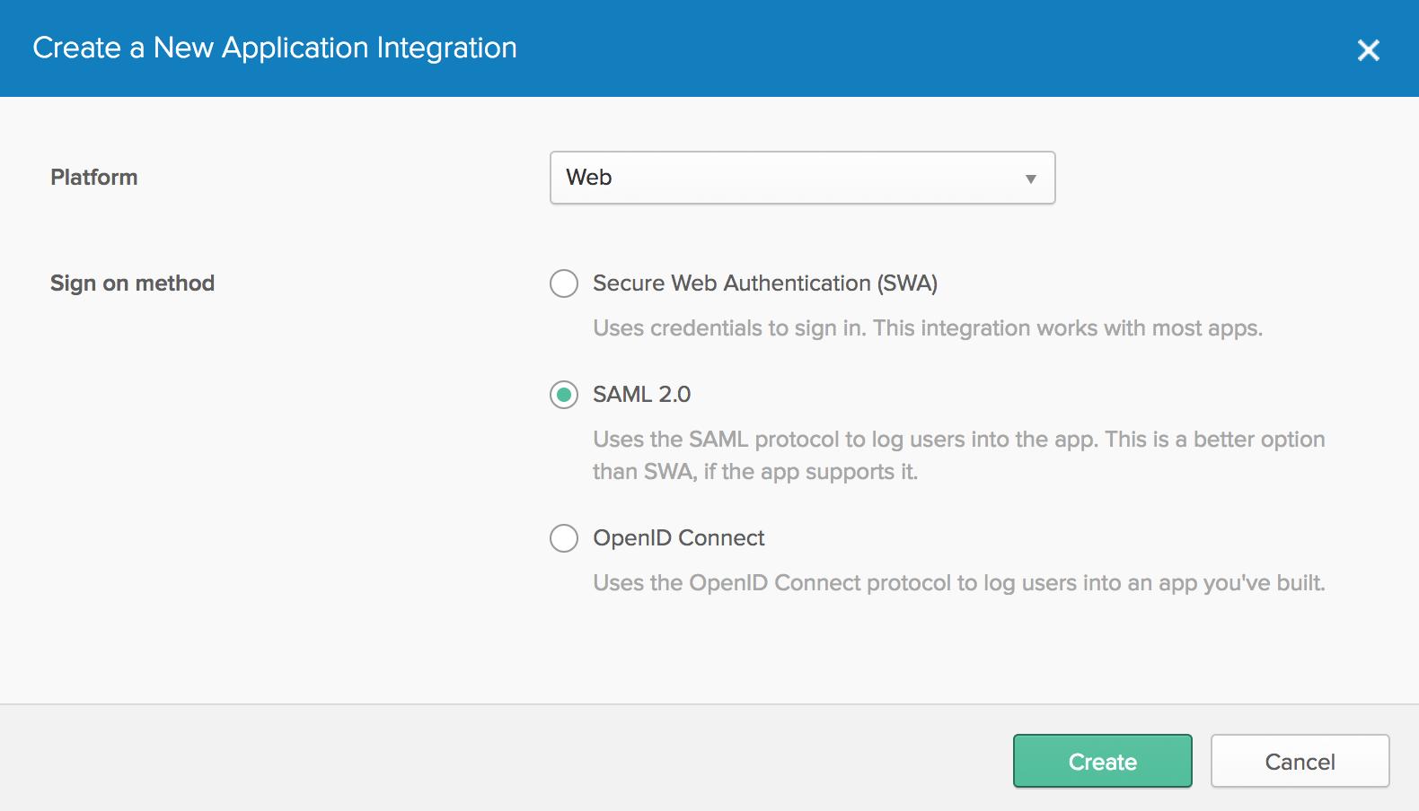 New App with SAML 2.0