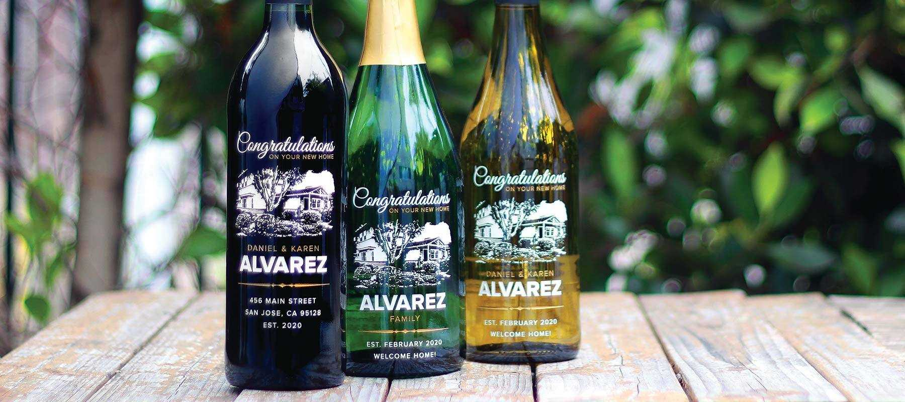 white wine, champagne, red wine etched bottles customized for etching expressions