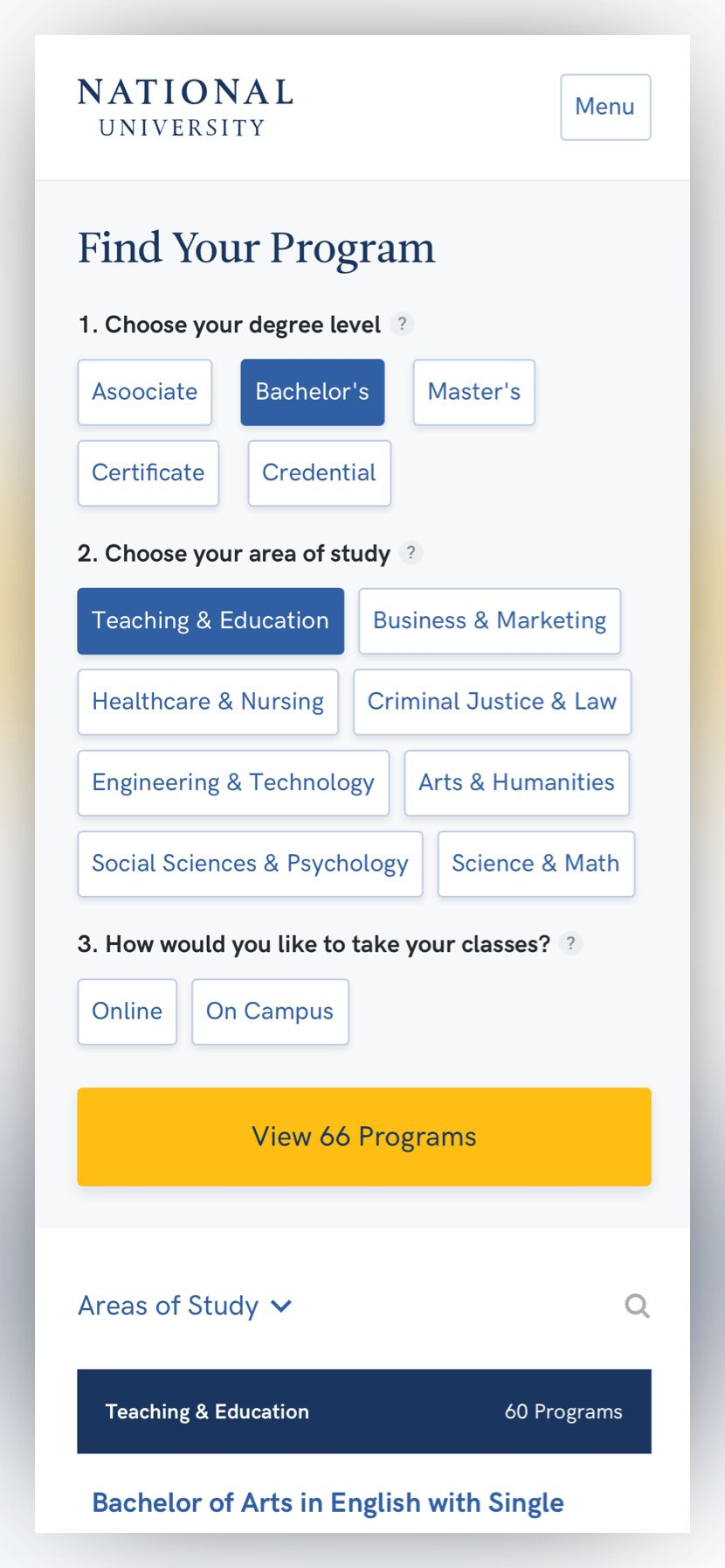 screenshot of the National University program finder page at phone size