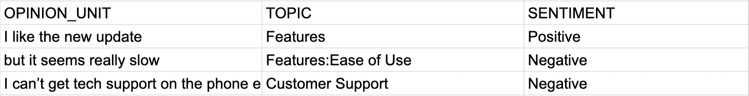 Opinion units organized in an excel spreadsheet
