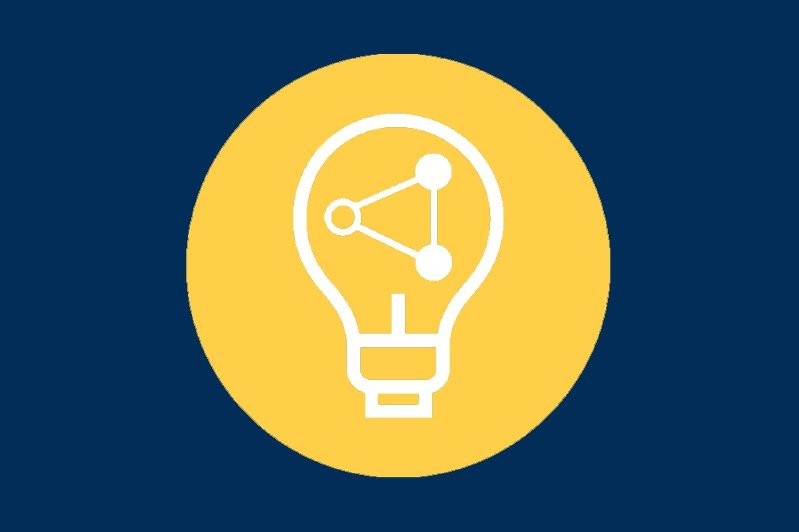 Icon of a lightbulb with a points connecting inside of it to represent Think
