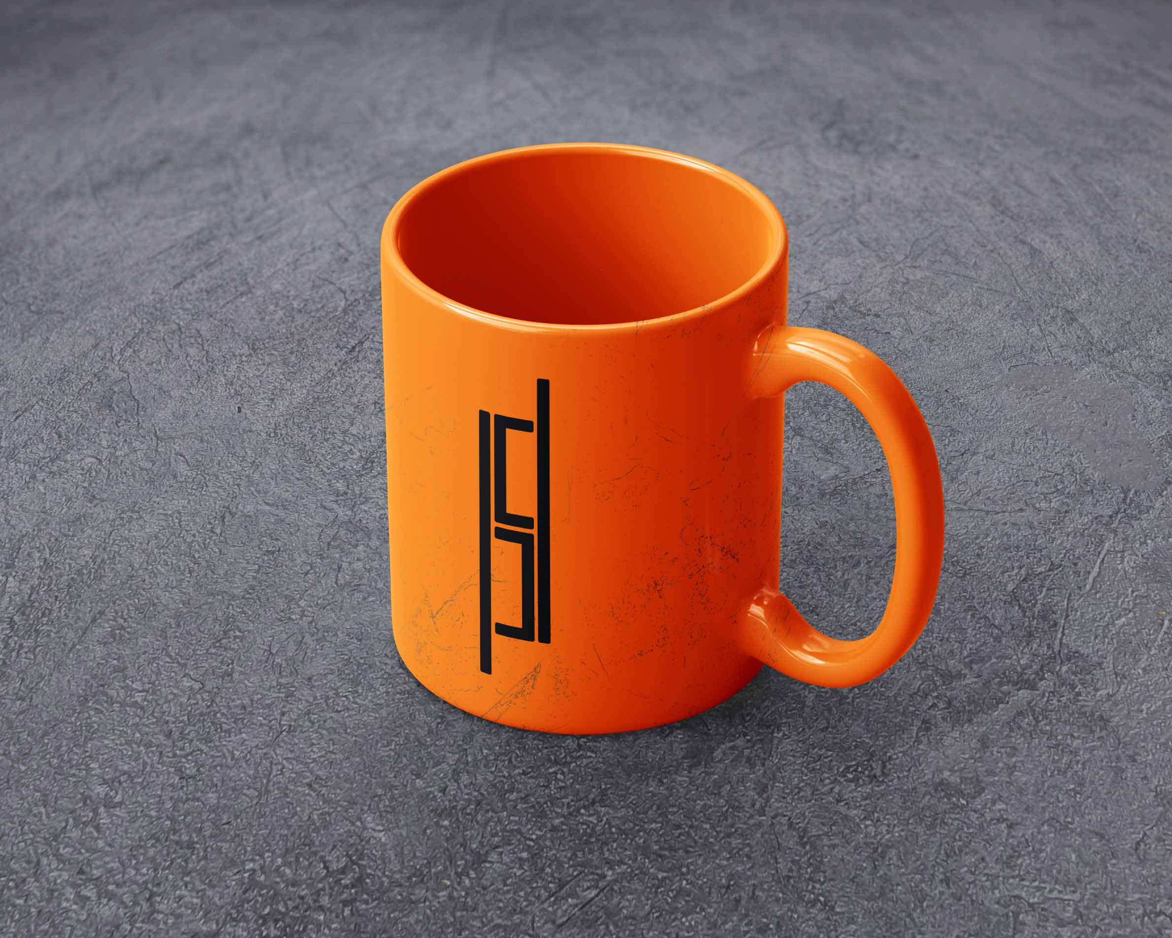 An orange mug with a stacked lockup of the Bartlesville Redi-Mix logo concept