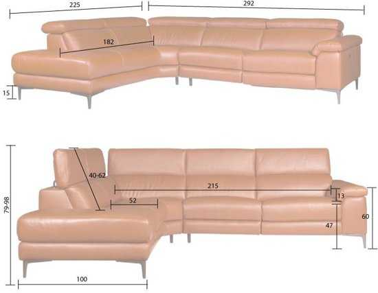 Hoekbank Lupine Chaise Longue Links Leer Oranje M5659 2 25 X 2 90 Mtr Breed 9200000083646643_1 52 cm