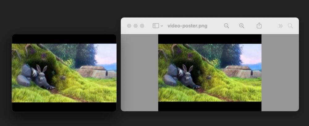 The source video file compares with output poster image