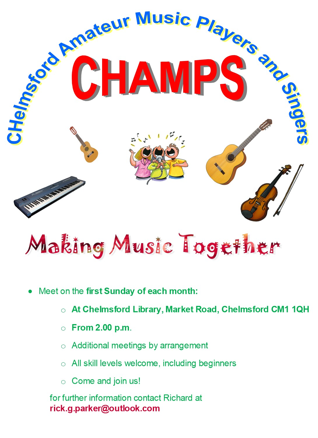 Chelmsford Amateur Music Players and Singers (CHAMPS) will be performing a charity evening on Wednesday 3rd July at the Summer Festival from 8pm.