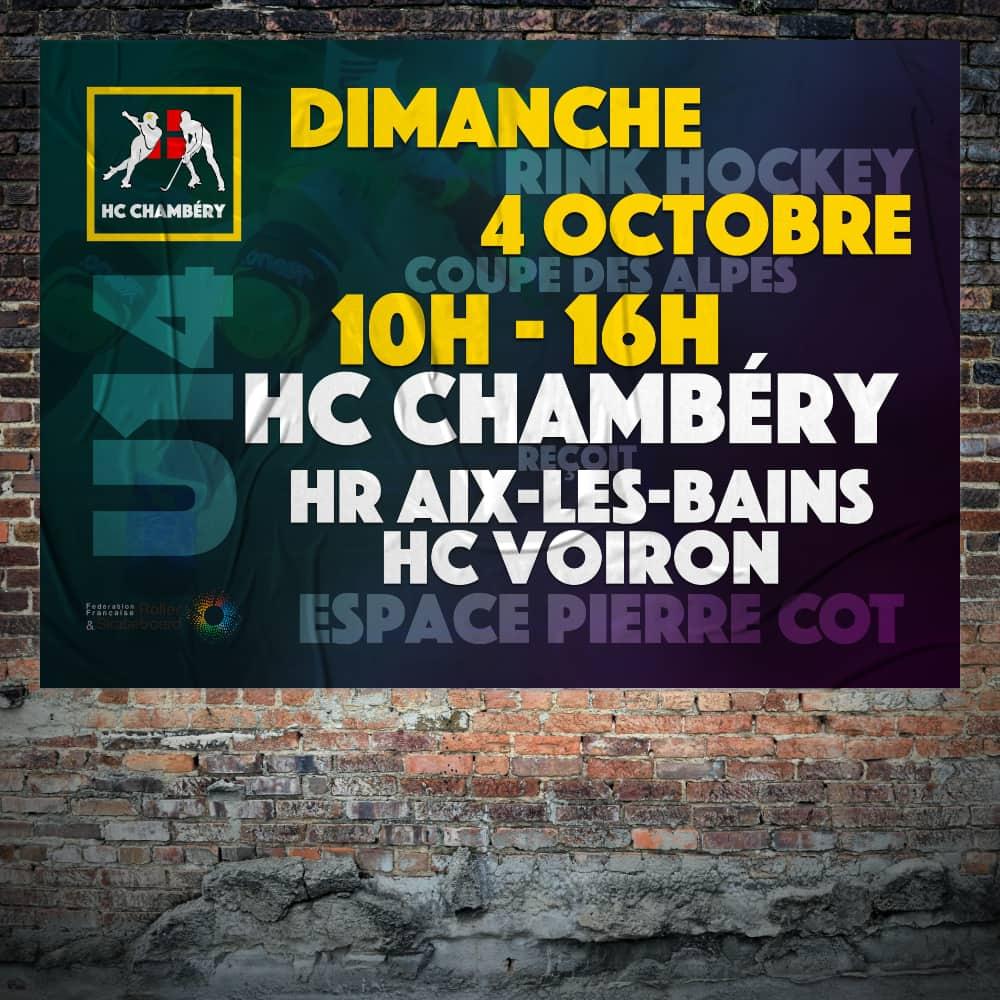 Affiche d'un match du HC Chambéry collée sur un mur