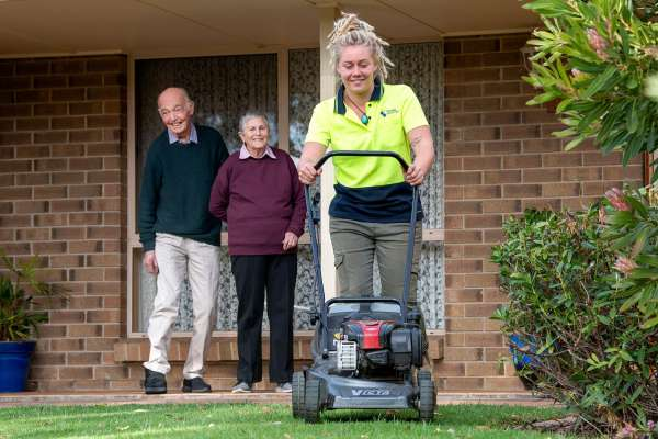 Home Care mowing lawns