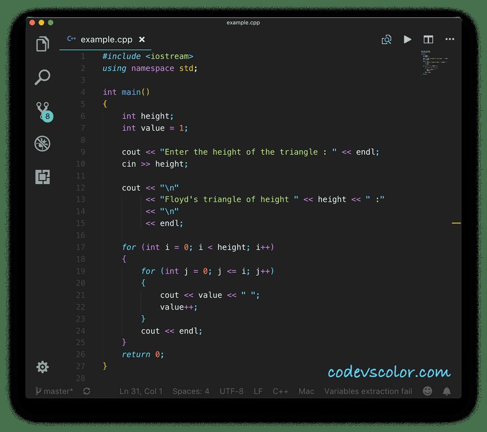 C++ floyd triangle