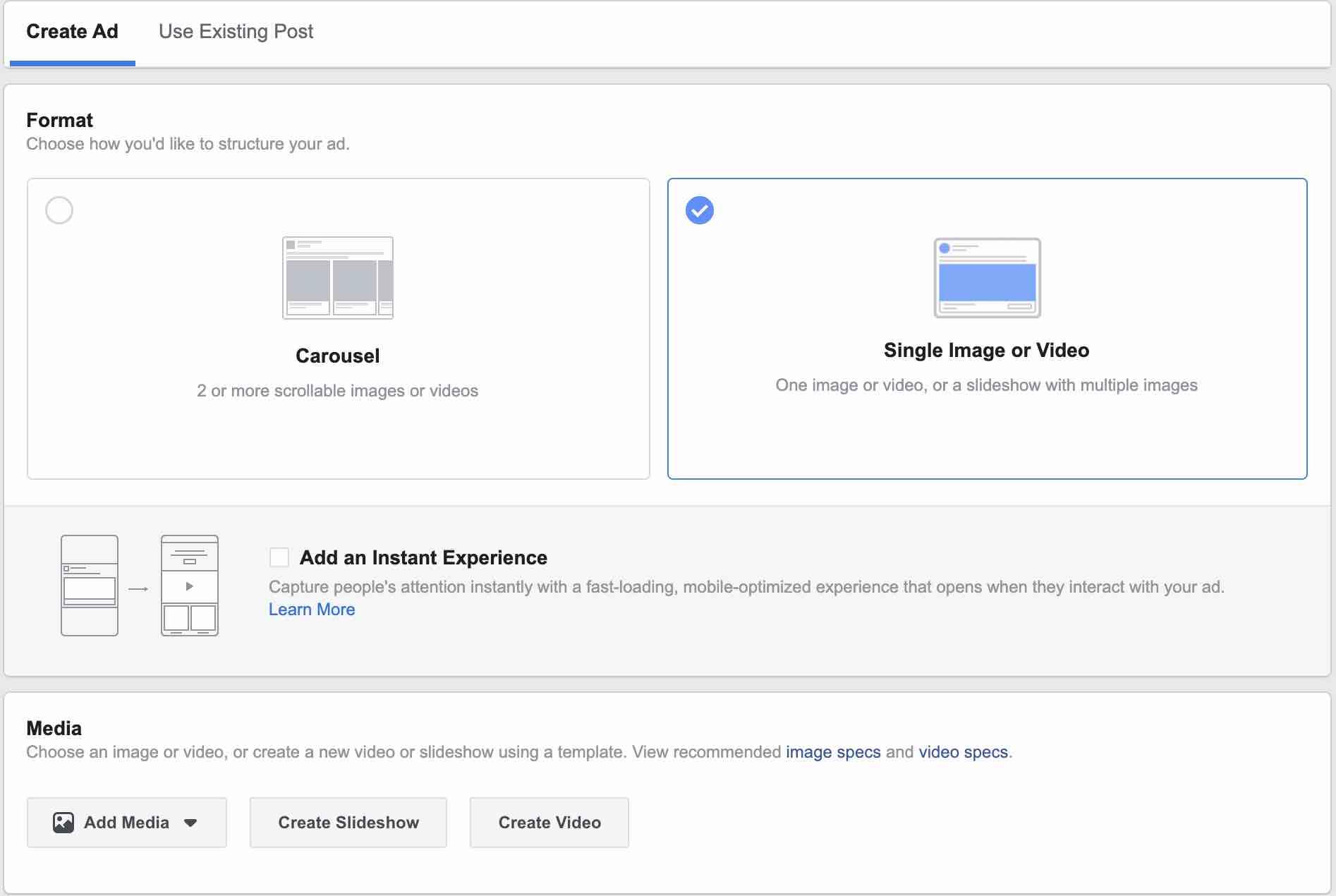 Screenshot - setup Facebook campaign - Step 3