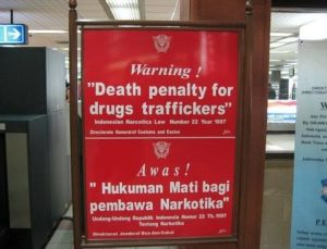 Death penalty for drug trafficking notice board at an airport