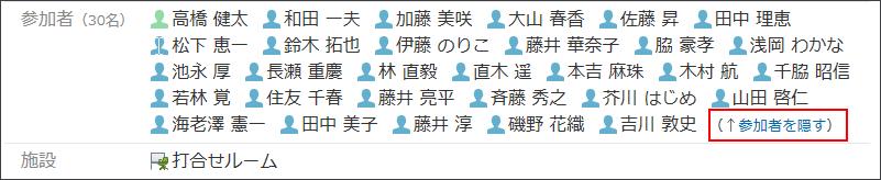 参加者を隠す操作リンクが赤枠で囲まれた画像