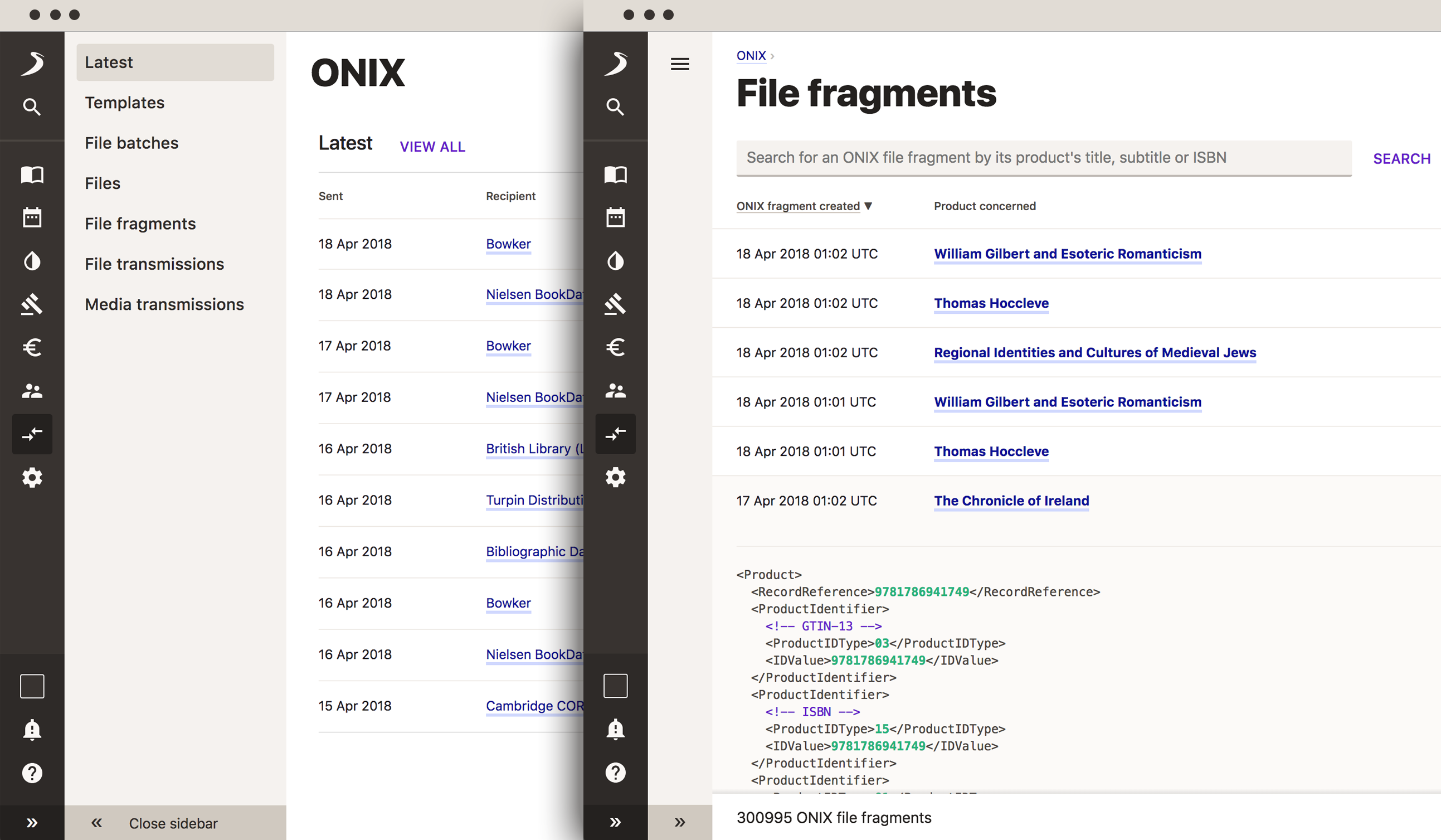 Screenshot showing Consonance's ONIX capability.