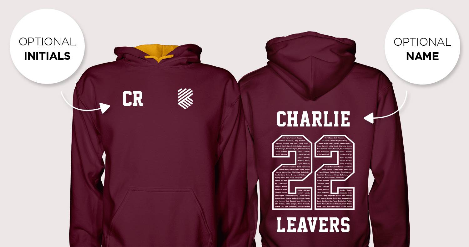 the front and back of a 2022 leavers hoodie