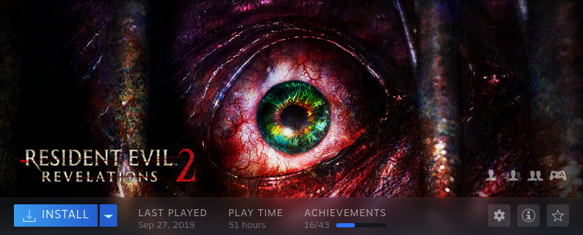 A screenshot of the Steam client, showing that I have 51 hours of play time in Resident Evil: Revelations 2