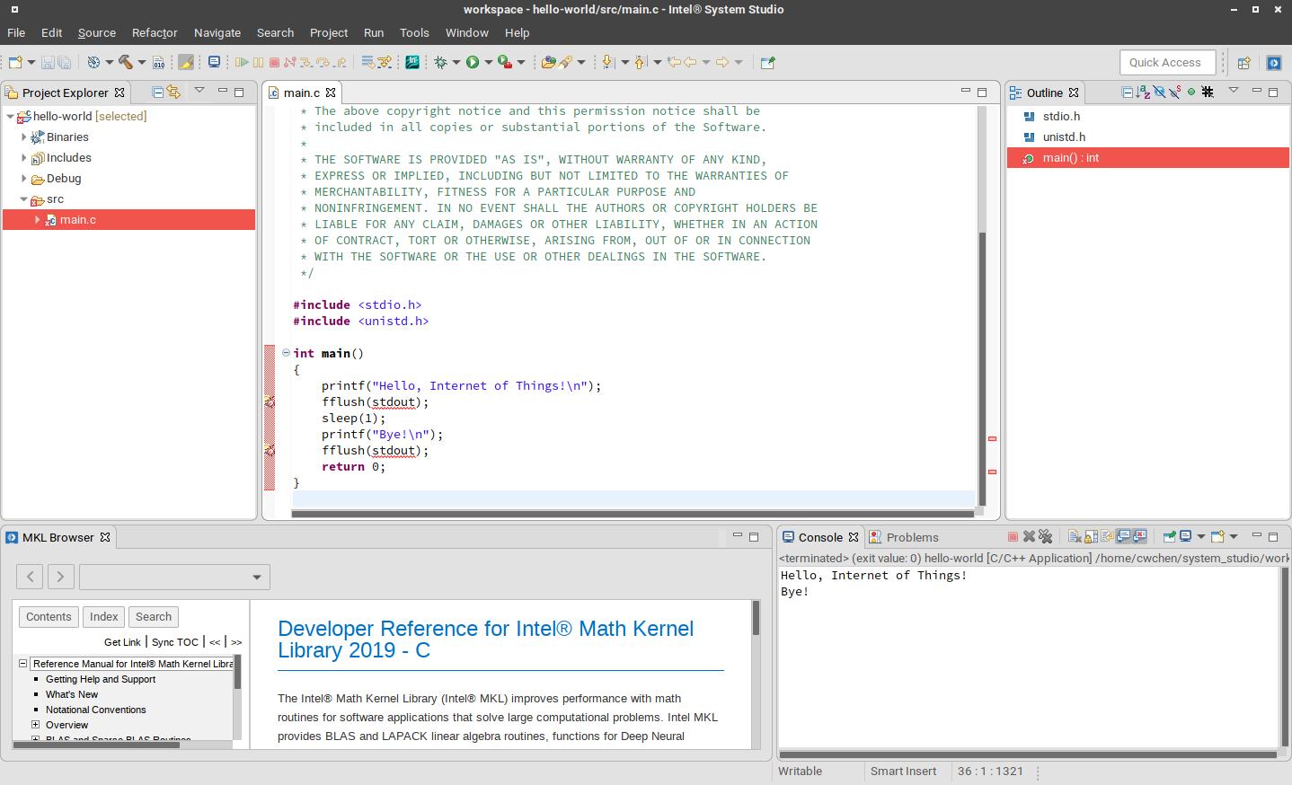Intel System Studio 的 HelloWorld 範例程式碼