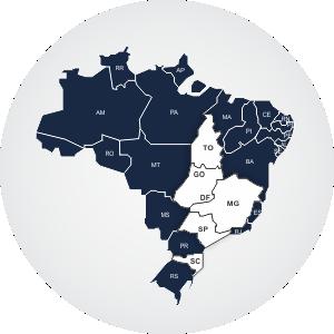 Mapa do Brasil com estados onde atuamos em destaque