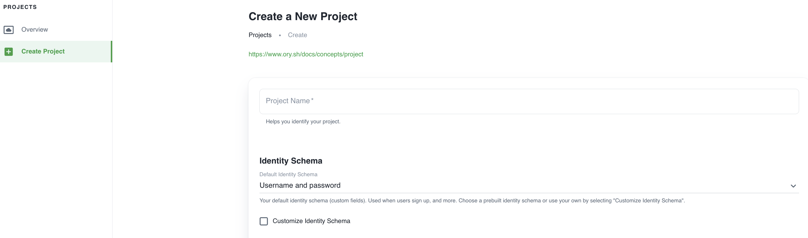 Ory Cloud Project creation screen