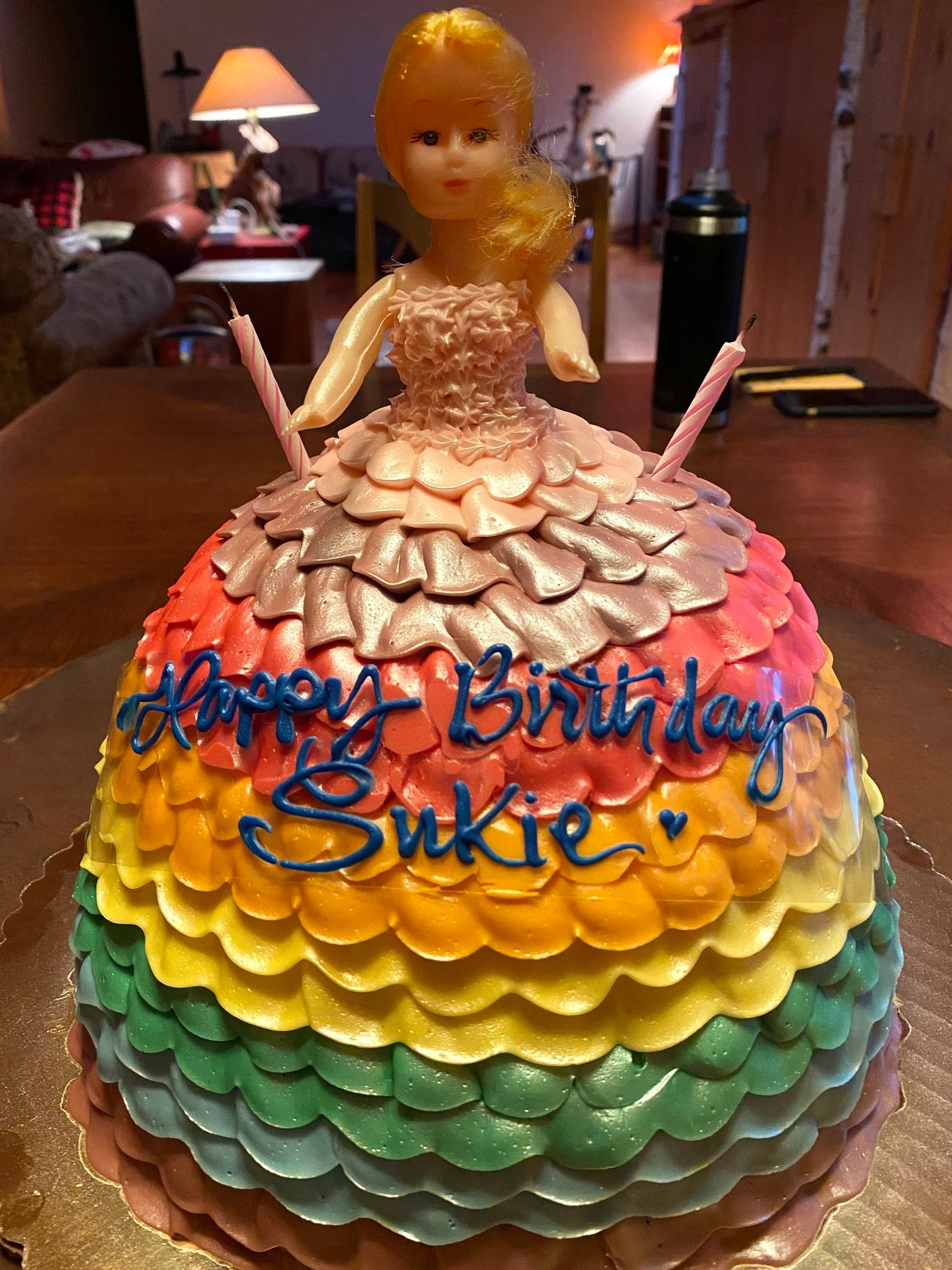 Mom's Barbie-shaped birthday cake from Dinkel's Bakery.