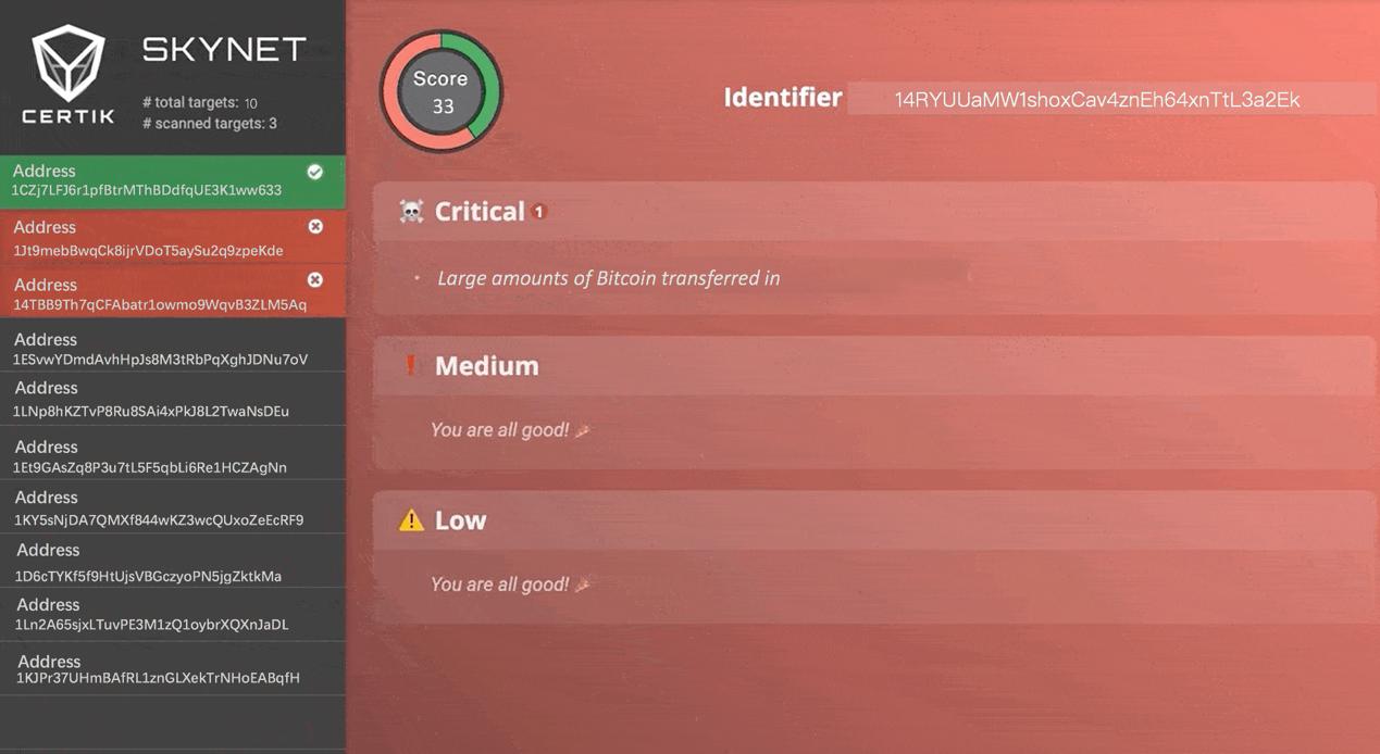 Screenshot of CertiK's Skynet detecting an abnormality in Cashaa's wallets