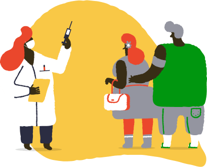 Illustration of doctor administering vaccines