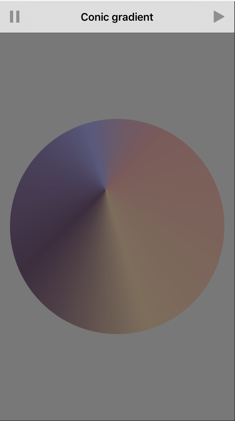 Final Project Demo Screen with circular masked gradient view and dimmed colors