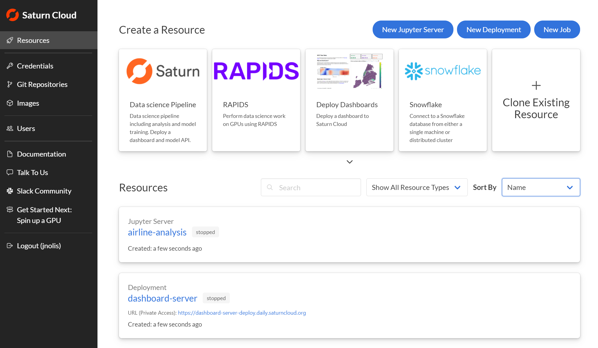 Screenshot of Saturn Cloud Resources page