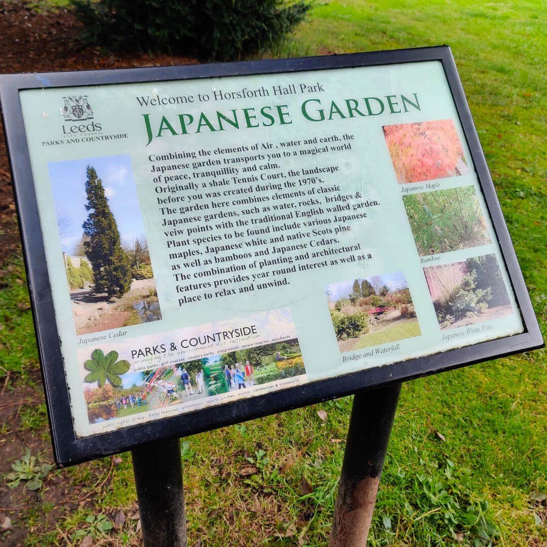 Horsforth Hall Park Japanese Garden Sign