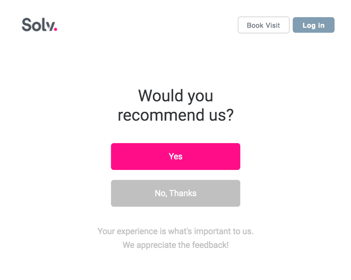 Closed-ended customer feedback survey from Solv, with a simple 'yes', 'no' option