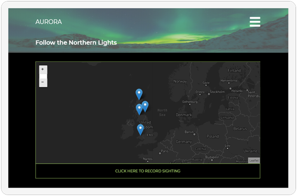 The homepage of the Aurora web application showcased on a screen