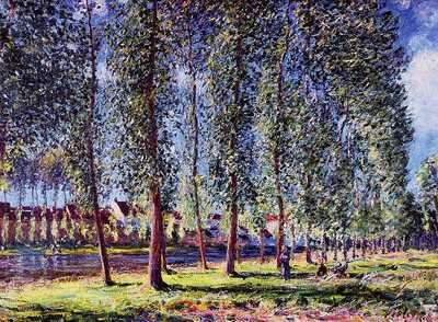 Lane of Poplars at Moret by Alfred Sisley, 1888, private collection