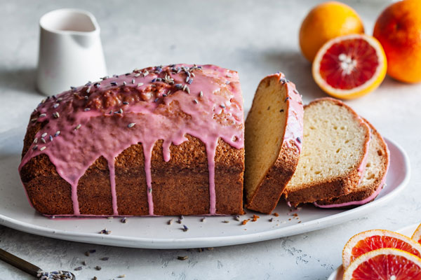 Glazed Blood Orange and Lavender Loaf
