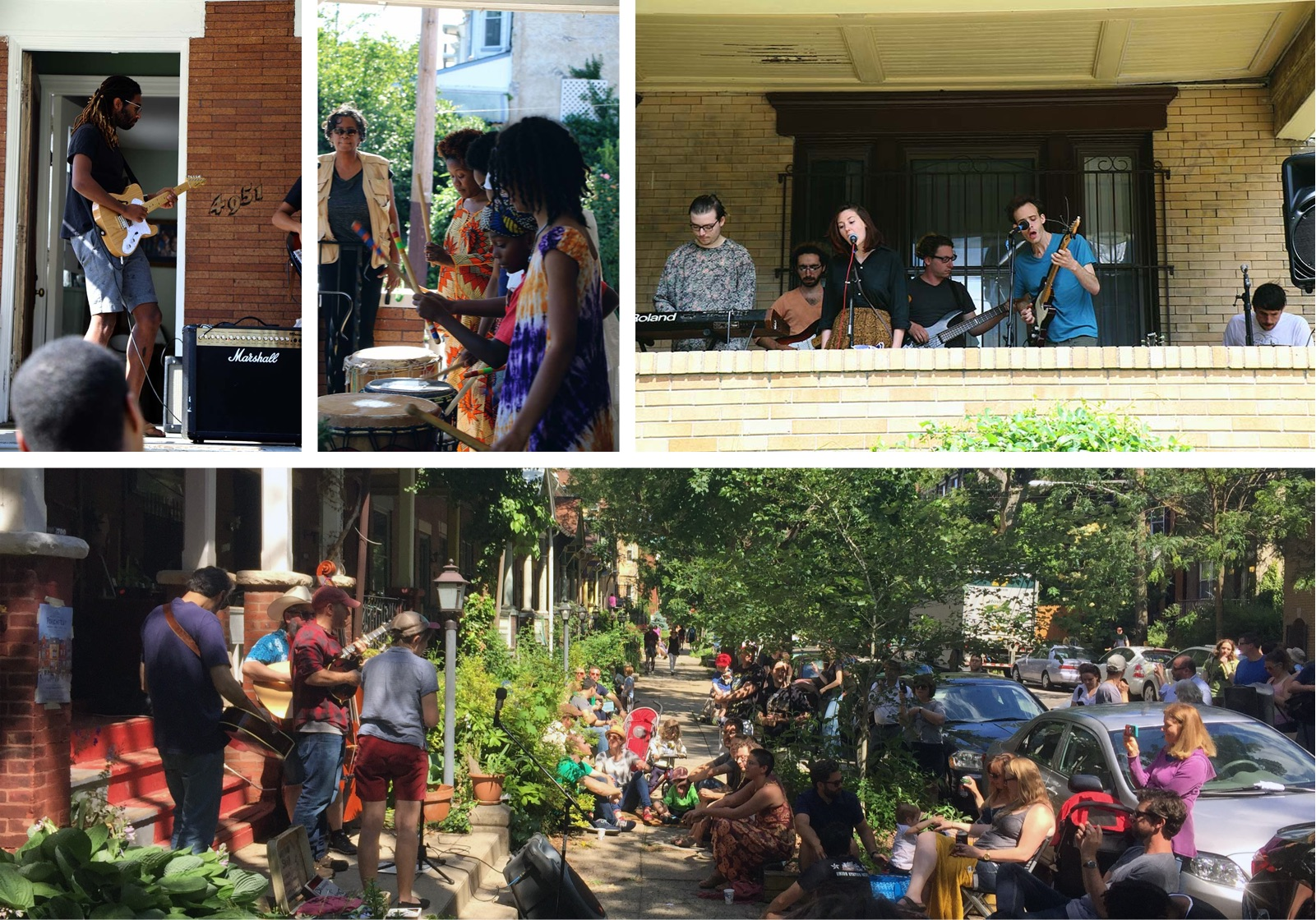 Collage of photos from Porchfest 2017; Man playing electric guitar, several women playing drums; a band playing instruments on a porch; a band playing on a porch and an audience sitting in chairs on the sidewalk