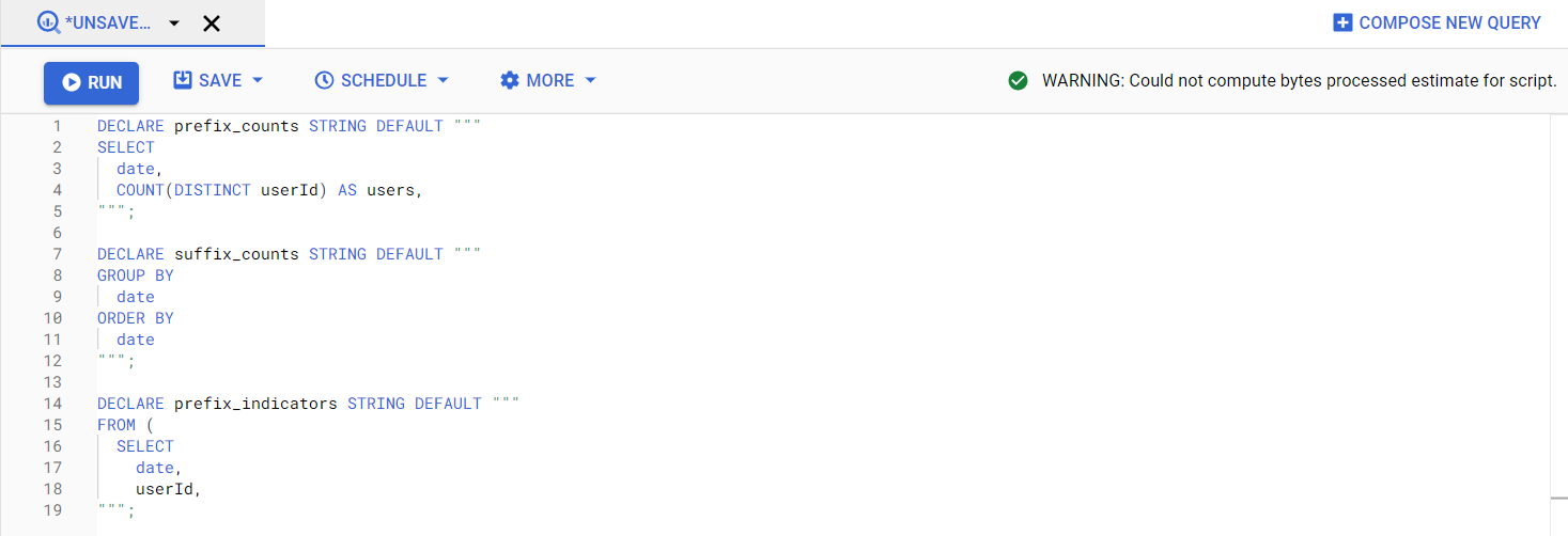 Google BigQuery scripting
