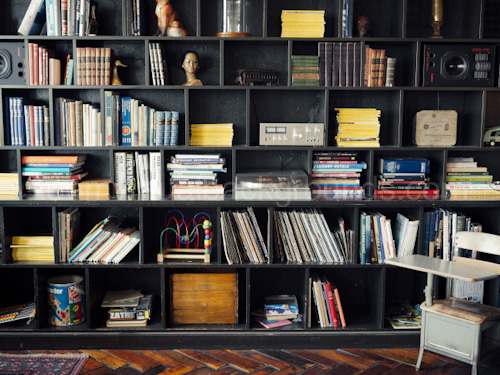 Stylish Home Study Virtual Background for Zoom with black bookcase and wooden floor