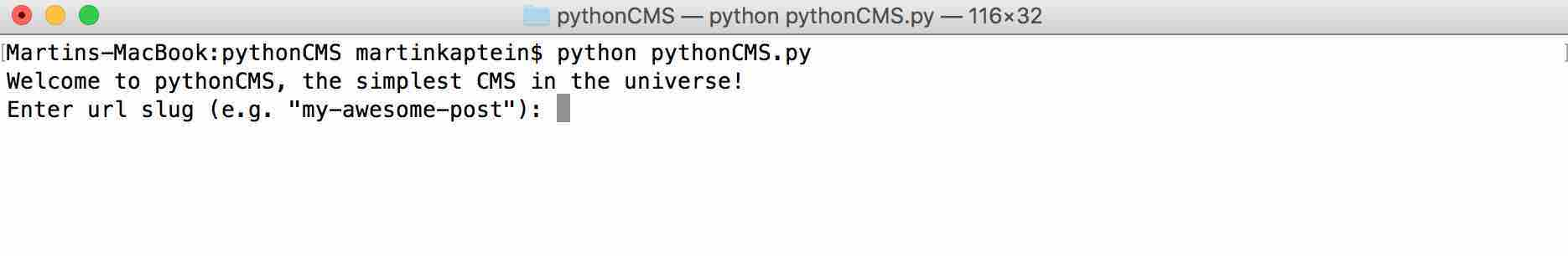 Running PythonCMS from Terminal