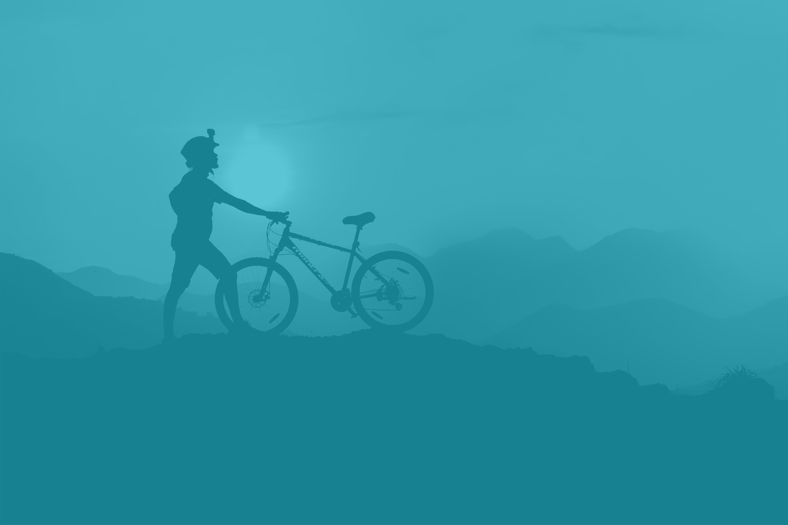 blue image of person with bicycle