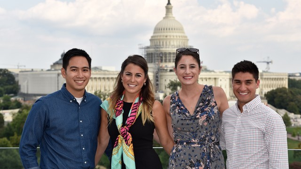 AU students in front of the capitol building in Washington D.C.