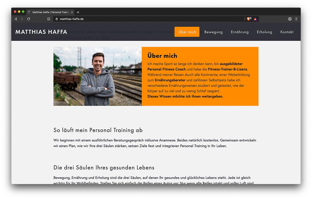 Webseite Matthias Haffa (About) - Webdesign Freiburg KreativBomber