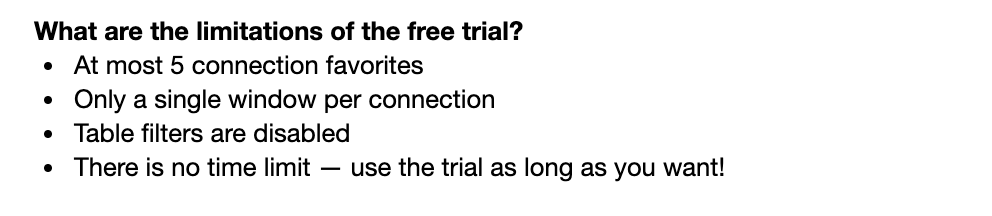 List Of Postico Free Trial Limitations