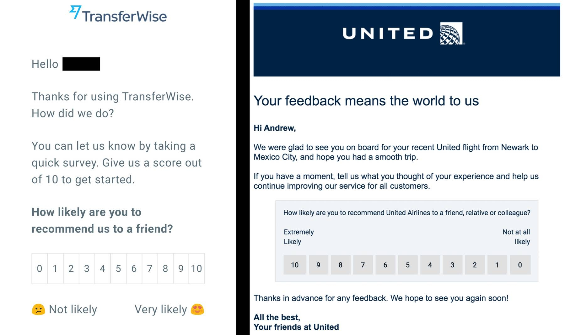 Closed-ended customer feedback survey from United Airlines and TransferWire