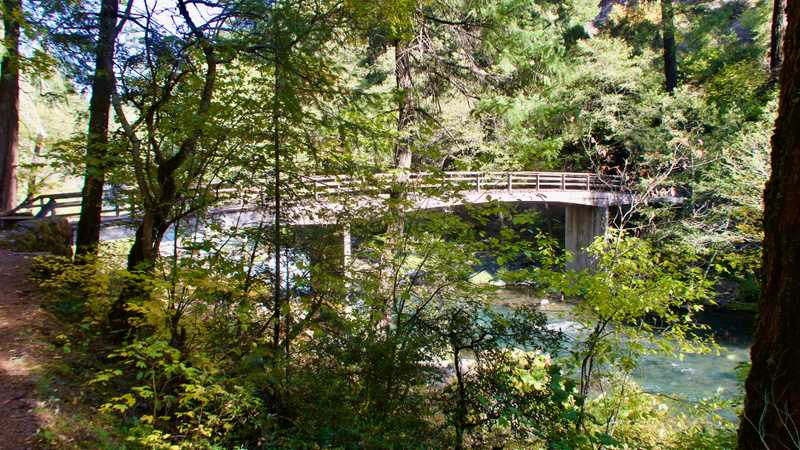 A footbridge over the McCloud River
