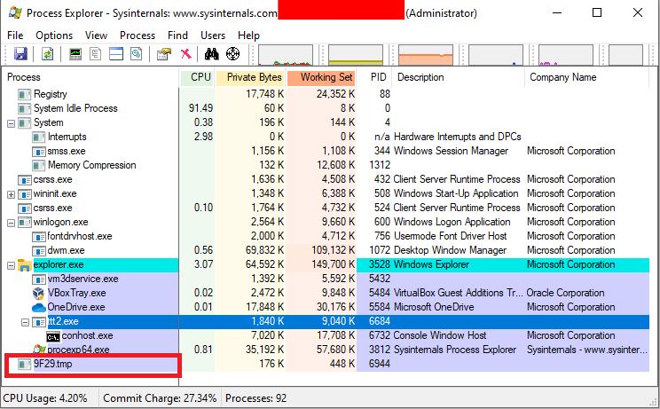 Tic tac toe Process Explorer List