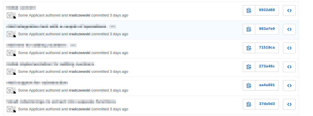"A screenshot of a list of commits with me as the committer and ""Some Applicant"" as the masked author of the commit"