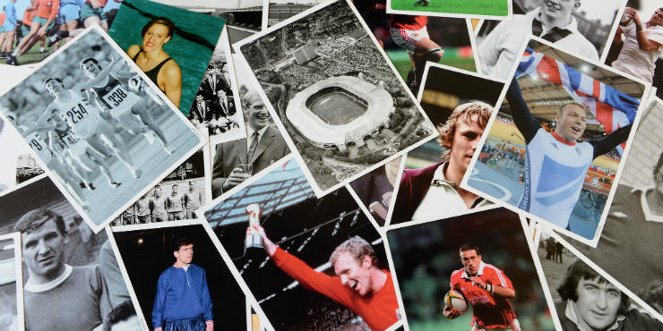 A collage of sports photographs